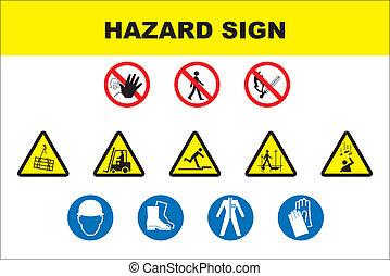 veszély, ikon, állhatatos, biztonság