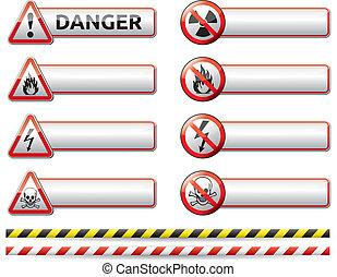 veszély, transzparens, aláír