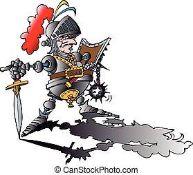 veszélyes, felfegyverez, büszke, lovag