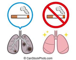 veszedelmek, tüdő, dohányzó, dohányzó, egészséges, személy