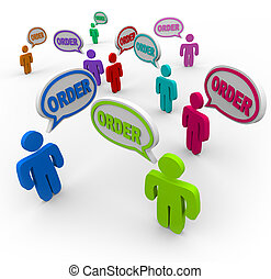 vevő, -, rendelés, kijelent, beszéd, panama, parancs
