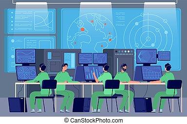 vezényel, állomás, vektor, hadi, center., szoba, cybersecurity, ellenőrzés, mission., kormány, irányít, konstruál, osztály, fogalom, biztonság
