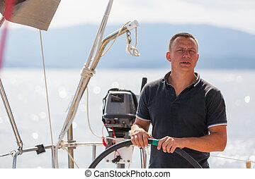 vezetés, boat., vitorlázás, figyelmetlen ember