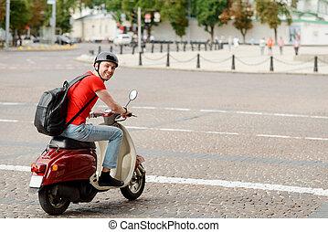 vezetés, el van ragadtatva, hátizsák, ember, sisak, motorkerékpár, fárasztó
