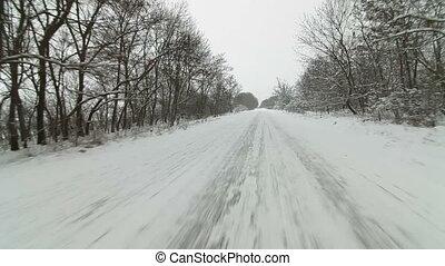 vezetés, havas, út, ország, autó