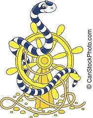vezetés, kígyó, tenger