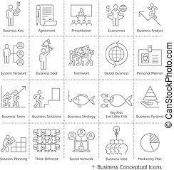 vezetőség, ügy, icons., vektor, híg, fogalmi, egyenes, style.
