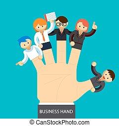 vezetőség, ügy, kezezés., kéz, munkavállaló, fogalom, fingers., nyílik