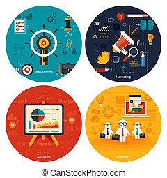 vezetőség, analytics., marketing, ikonok