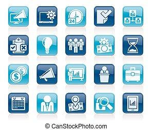 vezetőség, fogalom, ügy icons