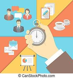 vezetőség, fogalom, ügy, idő