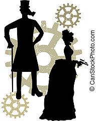 victorians, steampunk, körvonal, grungy, bekapcsol