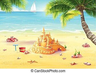 vidám, ábra, gombák, homok tenger, bástya, ünnep
