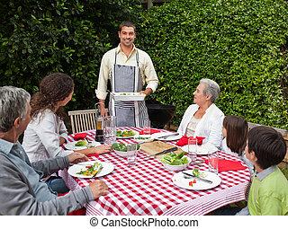 vidám, család, kert, portré