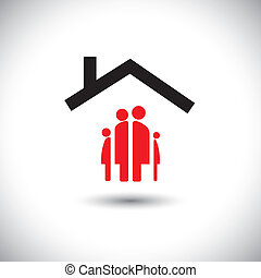 vidám családi, ikon, család, vektor, &, fogalom