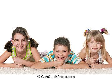 vidám, három gyerek