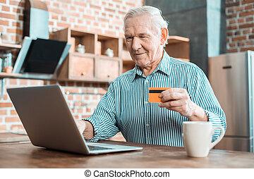 vidám, kártya, ember, idősebb ember, hitel, használ
