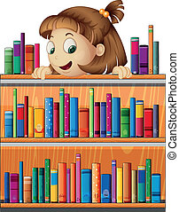 vidám, leány, fiatal, könyvtár