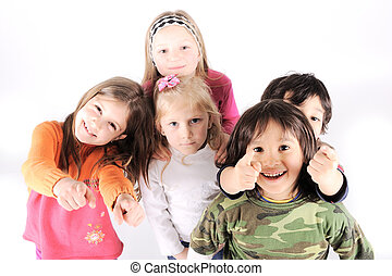 vidám, műterem, csoport, gyerekek