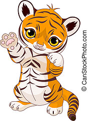 vidám, tiger, csinos, kölyök