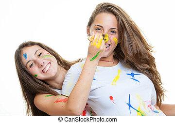 vidám, tizenéves lány, festék
