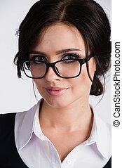 vidám woman, fiatal, bájos, új, fárasztó, szemüveg