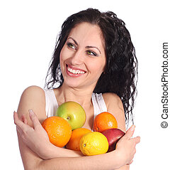 vidám woman, gyümölcs