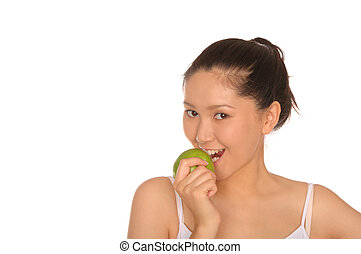 vidám woman, zöld alma, ázsiai