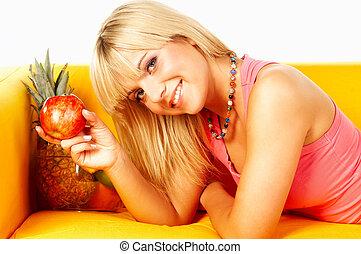 vidám women, gyümölcs