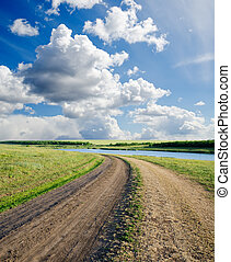 vidéki út, felhős, horizont