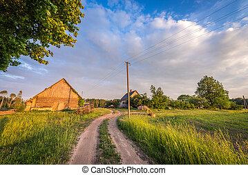 vidéki, farmhouse., lett, parkosít.