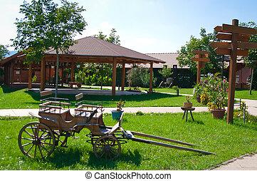 vidéki parkosít, farmház
