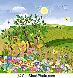 vidéki parkosít, gyümölcs fa, kerítés