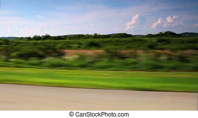 vidéki táj, autó, át, vezetés