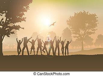 vidéki táj, emberek, tánc
