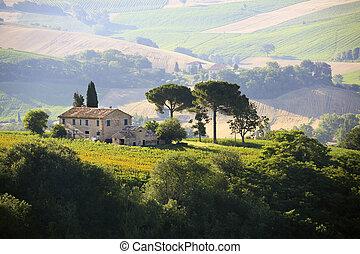 vidéki táj, farmház, olasz