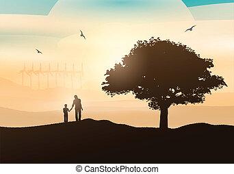 vidéki táj, gyalogló, atya, fiú