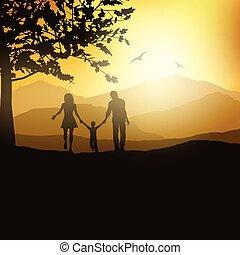 vidéki táj, gyalogló, család