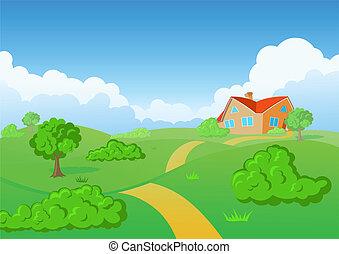 vidéki táj, house., zöld, meadow.