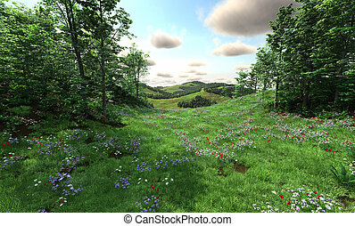 vidéki táj, kaszáló, dombok