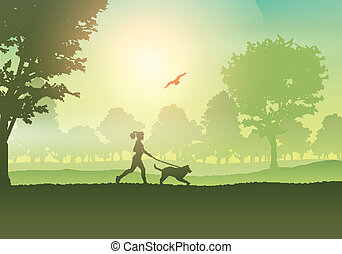vidéki táj, kocogás, kutya, női