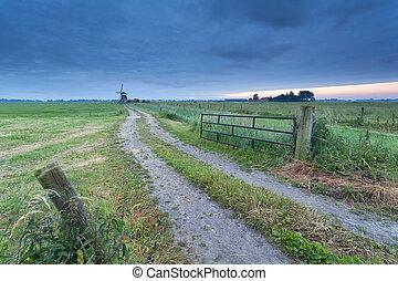 vidéki táj, szélmalom, út, föld