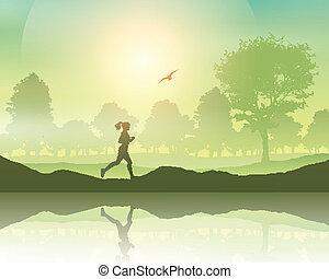 vidéki táj, továbbmegy női