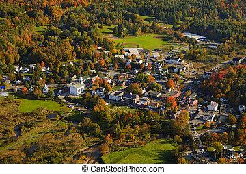 vidéki, vermont, kilátás, antenna, town.