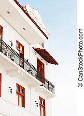 viejo., panama, központi, szög, széles, új, kilátás, épületek, casco, város, america., panama