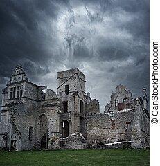 viharos, uradalom épület, felett, ég, tönkretesz