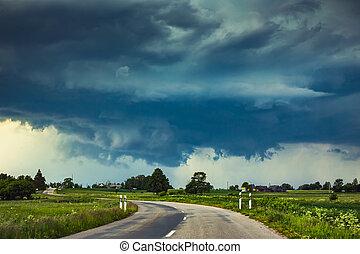 viharzik felhő, erős, szigorú, supercell, fal, felhő, eső