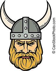 viking, helmet), karikatúra, (mascot, szarvas, fej