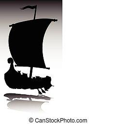 viking, körvonal, vektor, csónakázik