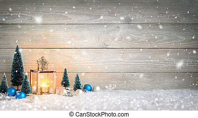 világító, erdő, hó, háttér, karácsony